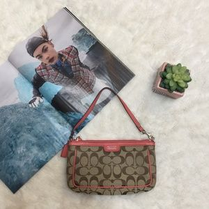 Coach Fabric Bag with Coral Leather